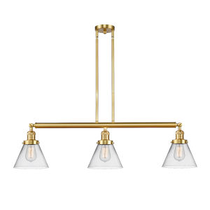 Franklin Restoration Satin Gold 40-Inch Three-Light LED Island Chandelier with Clear Glass Shade