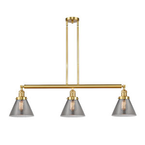 Franklin Restoration Satin Gold 40-Inch Three-Light Island Chandelier with Plated Smoke Glass Shade