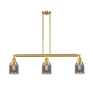 Franklin Restoration Satin Gold 38-Inch Three-Light LED Island Chandelier with Plated Smoke Glass Shade