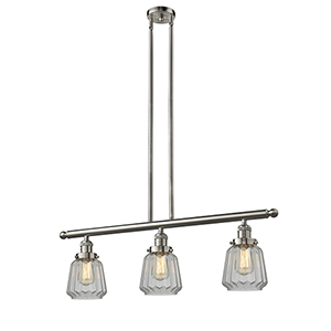 Chatham Brushed Satin Nickel Three-Light LED Island Pendant with Clear Fluted Novelty Glass