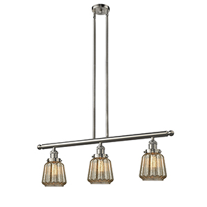 Chatham Brushed Satin Nickel Three-Light Island Pendant with Mercury Fluted Novelty Glass