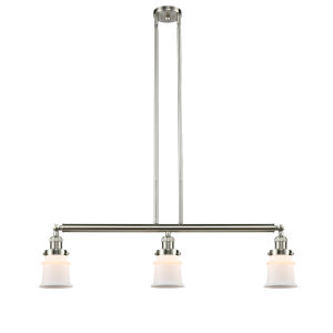 Franklin Restoration Brushed Satin Nickel 39-Inch Three-Light LED Island Chandelier with Matte White Glass Shade