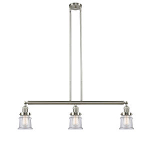Franklin Restoration Brushed Satin Nickel 39-Inch Three-Light Island Chandelier with Clear Canton Shade and Wire