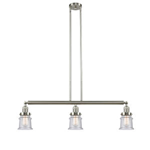 Franklin Restoration Brushed Satin Nickel 39-Inch Three-Light LED Island Chandelier with Seedy Canton Shade and Wire
