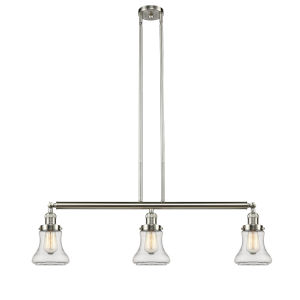 Bellmont Brushed Satin Nickel Three-Light Island Pendant with Clear Hourglass Glass