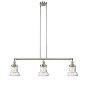 Bellmont Brushed Satin Nickel Three-Light Island Pendant with Seedy Hourglass Glass