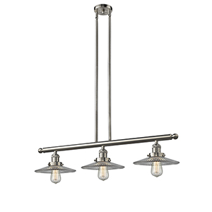 Halophane Brushed Satin Nickel Three-Light LED Island Pendant with Halophane Cone Glass