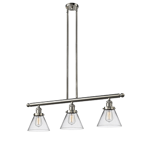 Large Cone Brushed Satin Nickel Three-Light Island Pendant with Clear Cone Glass
