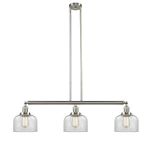 Franklin Restoration Brushed Satin Nickel 41-Inch Three-Light Island Chandelier with Clear Glass Shade