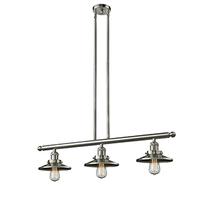 Railroad Brushed Satin Nickel Three-Light LED Island Pendant