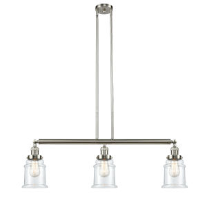 Canton Brushed Satin Nickel Three-Light Island Pendant with Clear Glass