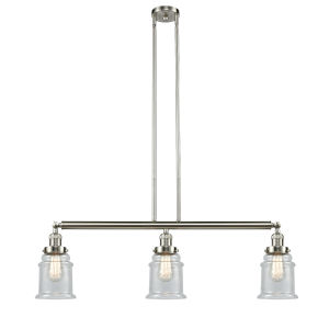 Canton Brushed Satin Nickel Three-Light Island Pendant with Seedy Glass