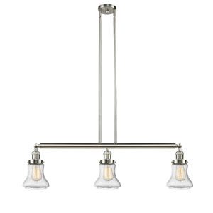 Bellmont Brushed Satin Nickel Three-Light Adjustable Island Pendant with Seedy Glass