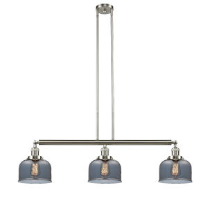 Large Bell Brushed Satin Nickel Three-Light Island Pendant with Smoked Glass