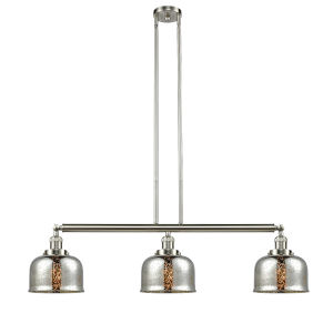 Large Bell Brushed Satin Nickel Three-Light Island Pendant