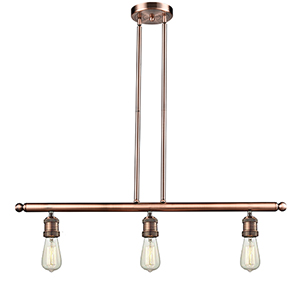 Bare Bulb Antique Copper Three-Light Island Pendant