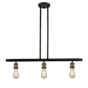 Bare Bulb Black Antique Brass 36-Inch Three-Light LED Island Pendant
