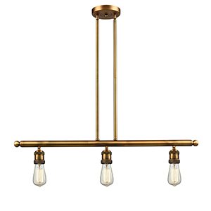 Bare Bulb Brushed Brass Three-Light Island Pendant