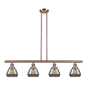 Fulton Antique Copper Four-Light LED Island Pendant with Smoked Sphere Glass