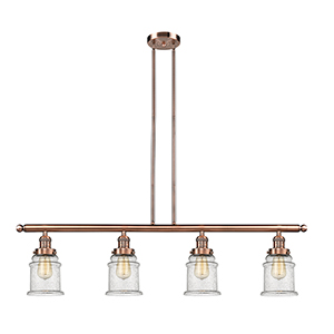 Canton Antique Copper Four-Light LED Island Pendant with Seedy Bell Glass