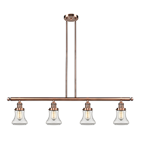 Bellmont Antique Copper Four-Light LED Island Pendant with Clear Hourglass Glass