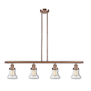 Bellmont Antique Copper Four-Light LED Island Pendant with Seedy Hourglass Glass
