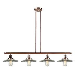 Halophane Antique Copper Four-Light LED Island Pendant with Halophane Cone Glass