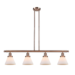 Large Cone Antique Copper Four-Light LED Island Pendant with Matte White Cased Cone Glass