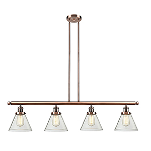Large Cone Antique Copper Four-Light LED Island Pendant with Clear Cone Glass