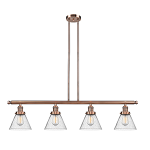 Large Cone Antique Copper Four-Light LED Island Pendant with Seedy Cone Glass