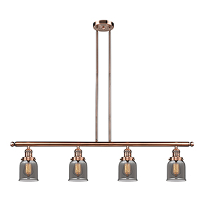 Small Bell Antique Copper Four-Light LED Island Pendant with Smoked Bell Glass