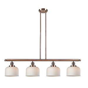 Large Bell Antique Copper Four-Light LED Island Pendant with Matte White Cased Dome Glass