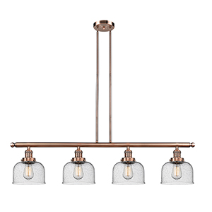 Large Bell Antique Copper Four-Light LED Island Pendant with Seedy Dome Glass