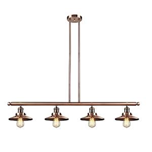 Railroad Antique Copper Four-Light LED Island Pendant