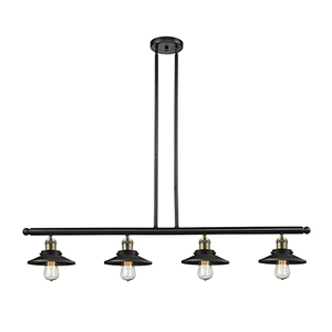 Railroad Black Antique Brass Four-Light LED Island Pendant with Matte Black Metal Shade