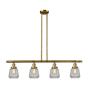 Chatham Brushed Brass Four-Light LED Island Pendant with Clear Fluted Novelty Glass