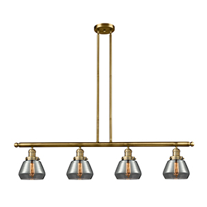Fulton Brushed Brass Four-Light LED Island Pendant with Smoked Sphere Glass