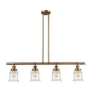 Canton Brushed Brass Four-Light LED Island Pendant with Clear Bell Glass