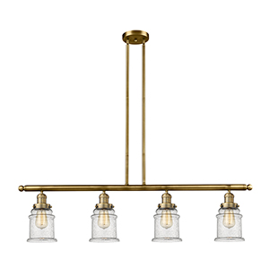 Canton Brushed Brass Four-Light LED Island Pendant with Seedy Bell Glass
