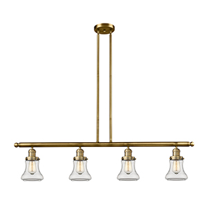 Bellmont Brushed Brass Four-Light LED Island Pendant with Clear Hourglass Glass