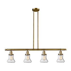 Bellmont Brushed Brass Four-Light LED Island Pendant with Seedy Hourglass Glass