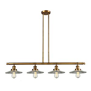 Halophane Brushed Brass Four-Light Island Pendant with Halophane Cone Glass