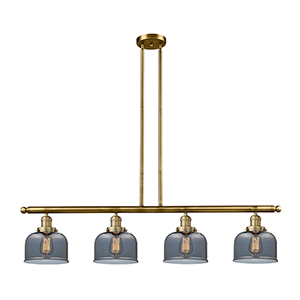 Large Bell Brushed Brass Four-Light LED Island Pendant with Smoked Dome Glass
