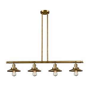 Railroad Brushed Brass Four-Light LED Island Pendant