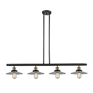 Halophane Black Brushed Brass Four-Light Island Pendant with Halophane Cone Glass