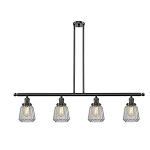 Chatham Oiled Rubbed Bronze Four-Light LED Island Pendant with Clear Fluted Novelty Glass