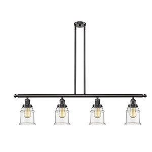 Canton Oiled Rubbed Bronze Four-Light LED Island Pendant with Clear Bell Glass