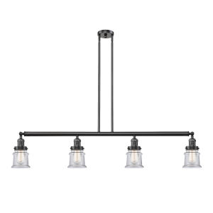 Franklin Restoration Oil Rubbed Bronze 51-Inch Four-Light LED Island Chandelier with Clear Canton Shade and Wire