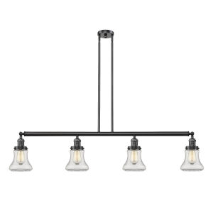 Bellmont Oiled Rubbed Bronze Four-Light LED Island Pendant with Clear Hourglass Glass