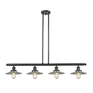 Halophane Oiled Rubbed Bronze Four-Light LED Island Pendant with Halophane Cone Glass